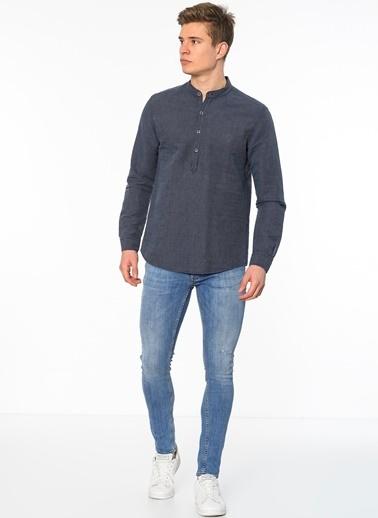 Hakim Yaka Uzun Kollu Gömlek-Mavi